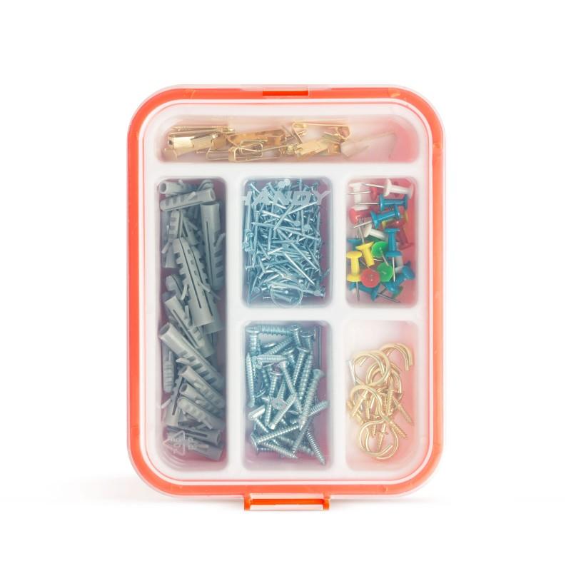 Set dibluri/cuie/carlige bricolaj Handy, 266 piese, caseta plastic 2021 shopu.ro