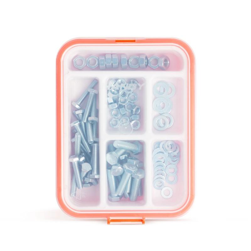 Set suruburi/saibe/piulite Handy, otel, 90 piese, caseta plastic inclusa 2021 shopu.ro