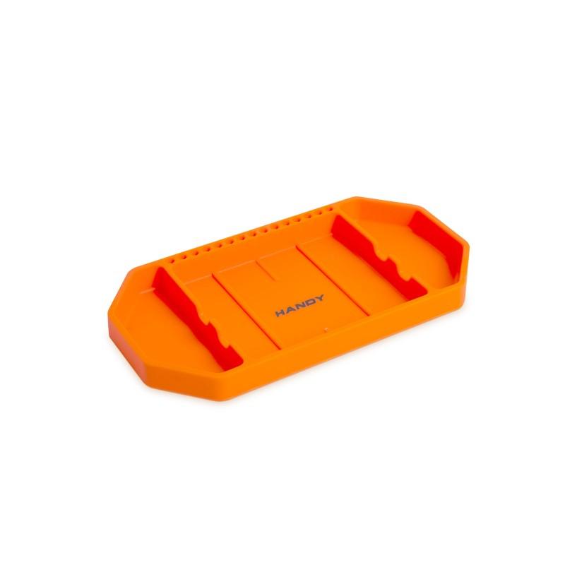 Tava pentru unelte Handy, 27.5 x 14.5 x 2.5 cm, cauciuc, suport pentru bituri, Portocaliu shopu.ro