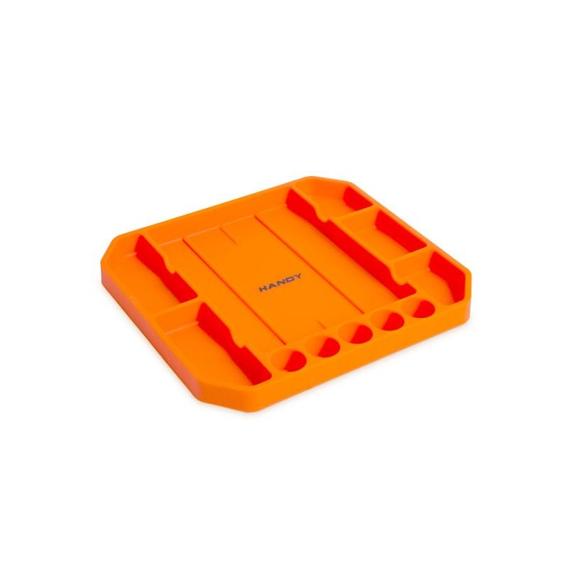 Tava pentru unelte Handy, 26 x 23.5 x 2.5 cm, cauciuc, 5 compartimente, rigla inclusa, Portocaliu shopu.ro