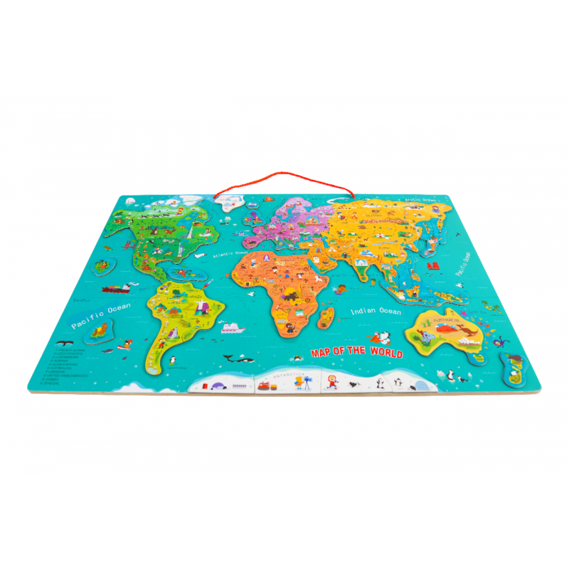 Puzzle magnetic harta lumii Topbright, 60 x 40 cm, 88 piese, 3 ani+ 2021 shopu.ro