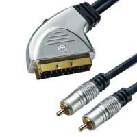 Cablu profesional Scart-2 RCA tata + intrerupator GOLD 24k, 10 m