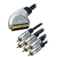 Cablu HT Scart - 6 x RCA Gold, 5 m, Negru/Argintiu