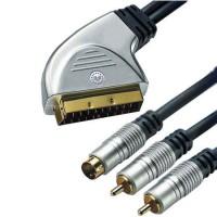 Cablu HT Scart - SVHS + 2 x RCA Gold, 5 m, Negru/Argintiu