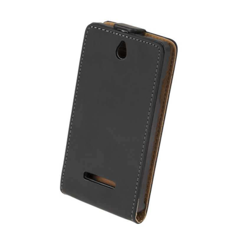 Husa Flip telefon Sony Xperia E, Negru 2021 shopu.ro