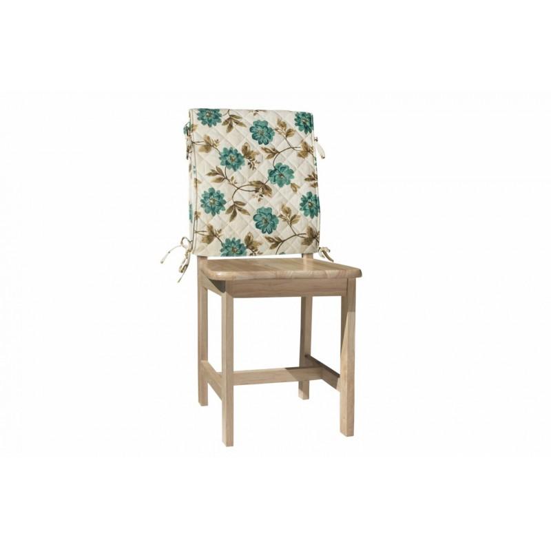 Husa pentru scaun Heinner, 47 x 100 cm, bumbac, model flori, Albastru/Crem shopu.ro