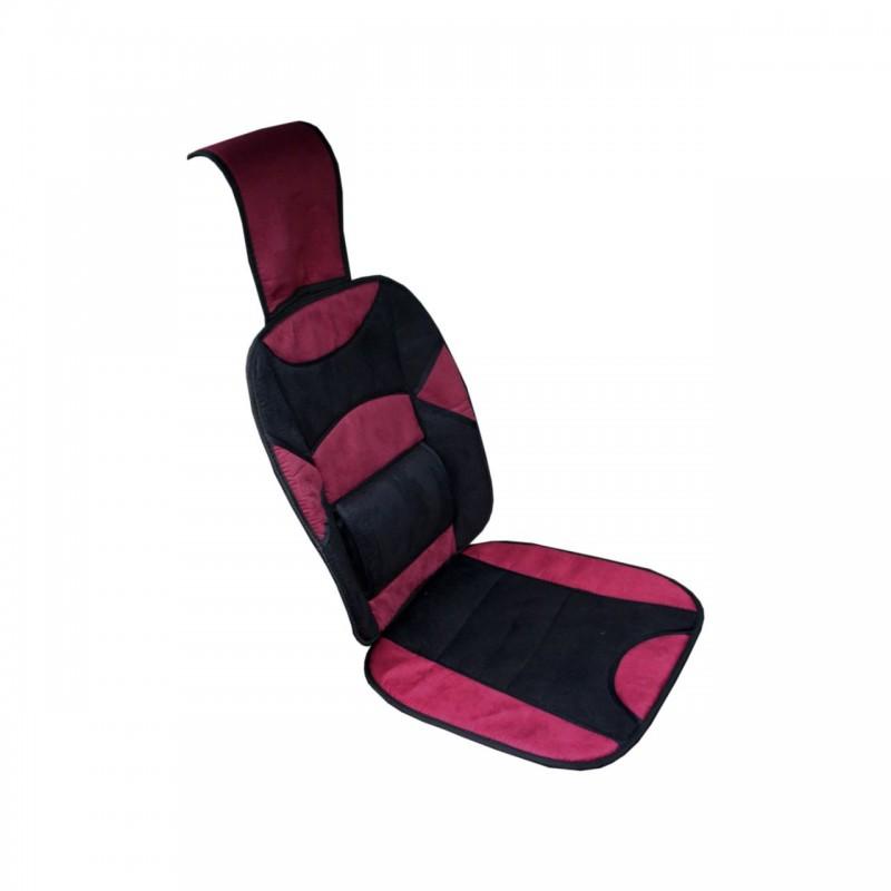 Husa scaun auto RoGroup, tetiera si suport lombar, microfibra, negru/rosu 2021 shopu.ro