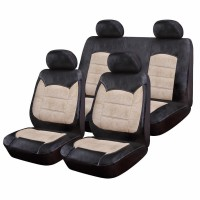 Huse Scaune Auto Luxury, piele ecologica si catifea, 9 piese, model universal, Negru/Crem