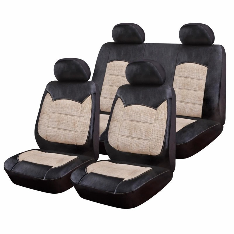 Huse Scaune Auto Luxury, piele ecologica si catifea, 9 piese, model universal, Negru/Crem 2021 shopu.ro