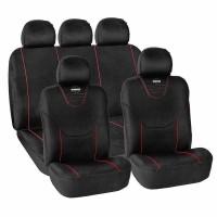 Huse scaune auto Momo, Alcantara, 11 piese, sistem air-bag, Negru/Rosu