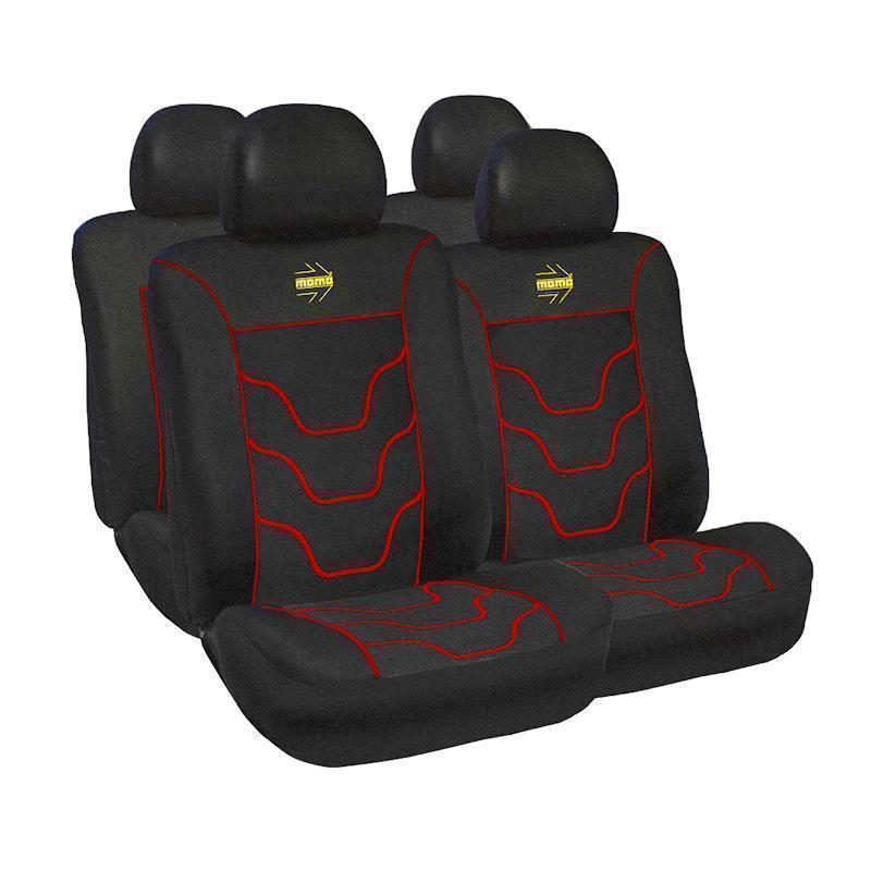 Huse scaune auto Momo, 11 piese, Negru/Rosu
