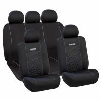 Huse scaune auto Momo, poliester, 11 piese, universal, negru-gri