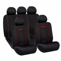Huse scaune auto Momo, poliester, 11 piese, universal, negru/rosu