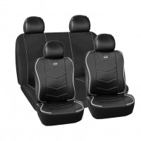 Huse scaune auto Momo, piele ecologica si material textil, 11 piese, Negru/Gri