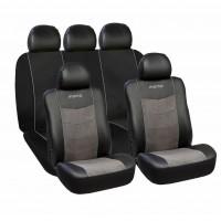 Huse scaune auto premium Momo, piele ecologica, suede si material textil, 11 piese