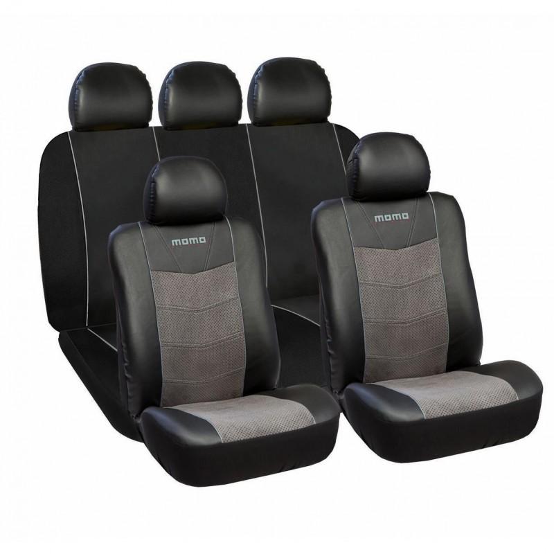 Huse scaune auto premium Momo, piele ecologica, suede si material textil, 11 piese 2021 shopu.ro