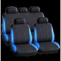 Huse universale pentru scaune auto Carguard, 9 piese, poliester/burete, Negru/Albastru