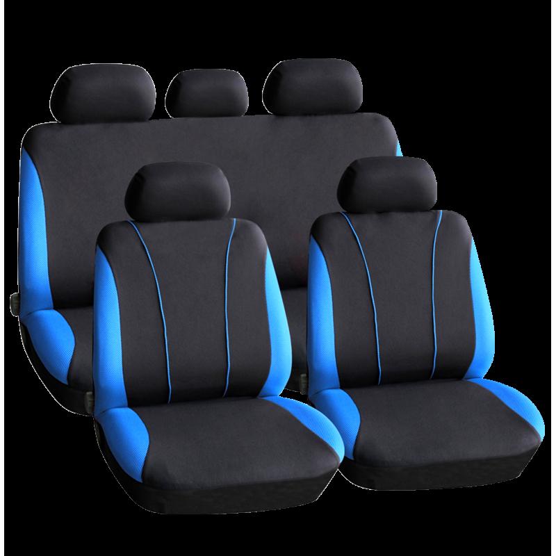 Huse universale pentru scaune auto Carguard, 9 piese, poliester/burete, Negru/Albastru 2021 shopu.ro