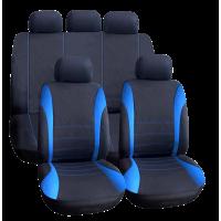 Set huse universale pentru scaune auto Carguard, 9 piese, poliester/burete, Albastru