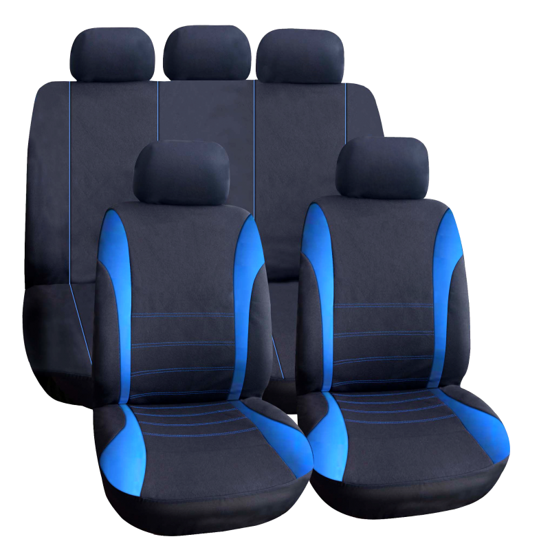 Set huse universale pentru scaune auto Carguard, 9 piese, poliester/burete, Albastru 2021 shopu.ro