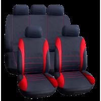 Set huse universale pentru scaune auto Carguard, 9 piese, poliester/burete, Rosu/Negru