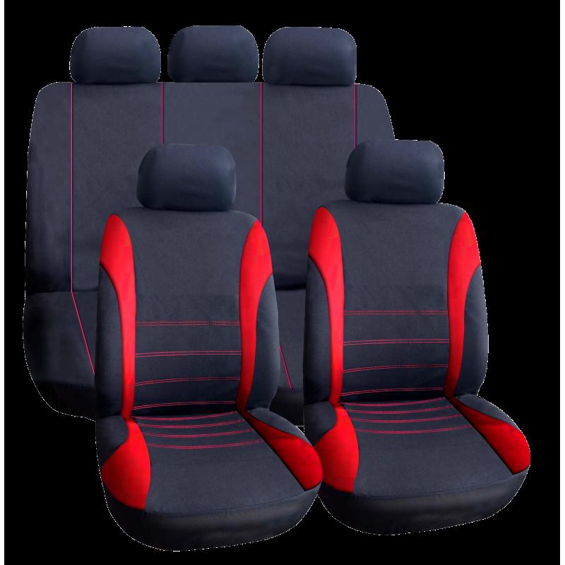 Set huse universale pentru scaune auto Carguard, 9 piese, poliester/burete, Rosu/Negru 2021 shopu.ro