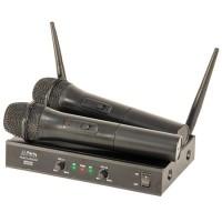 Set 2 microfoane cu receptor, wireless, UHF, frecventa 863.2 & 864.2, Negru