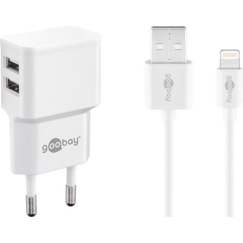 Incarcator retea Goobay, 2.4 A, dual, USB, cablu lightning, Alb 2021 shopu.ro