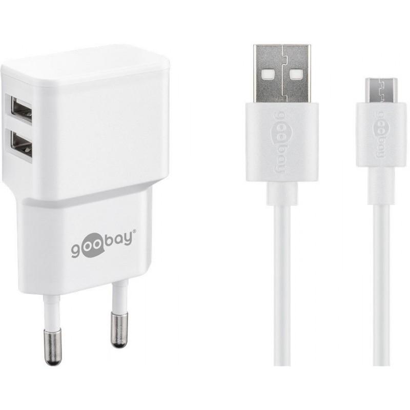 Incarcator de retea dual Goobay, USB, cablu micro USB, 2.4 A, alb 2021 shopu.ro