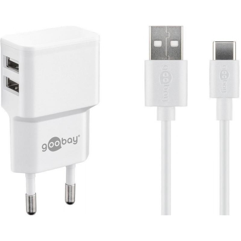 Incarcator dual pentru telefon Goobay, USB, 2.4 A, cablu tip-C, Alb 2021 shopu.ro