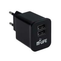 Alimentator USB dual pentru priza M-Life, 1 A, Negru
