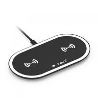 Incarcator wireless Dual Pad, 3 A, 10 W, incarcare simultana 2 dispozitive, Negru/Alb