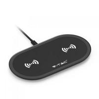 Incarcator wireless Dual Pad, 3 A, 10 W, incarcare simultana 2 dispozitive, Negru