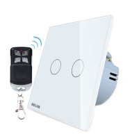 Intrerupator dublu cu touch Welaik, wireless, telecomanda inclusa, Alb