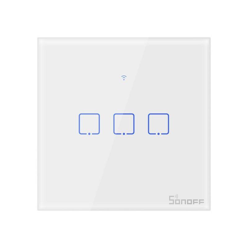 Intrerupator Smart Touch Wifi + RF 433 Sonoff T1 EU TX, 3 canale 2021 shopu.ro