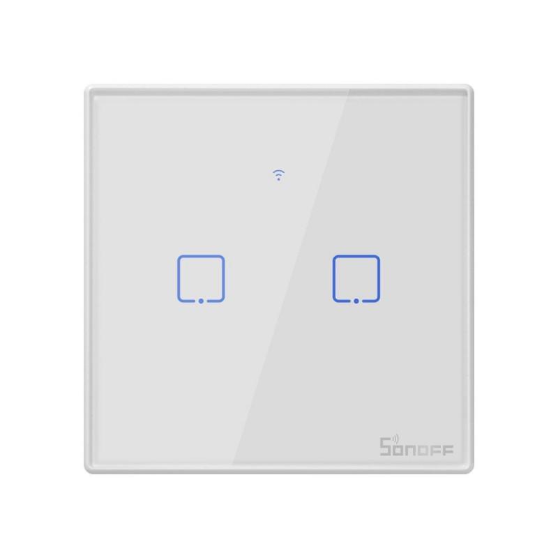 Intrerupator Smart Touch WiFi + RF 433 Sonoff T2 EU TX, 2 canale 2021 shopu.ro