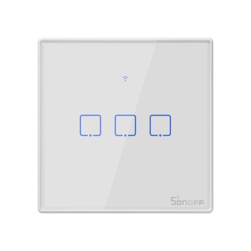 Intrerupator Smart Touch WiFi + RF 433 Sonoff T2 EU TX, 3 canale 2021 shopu.ro