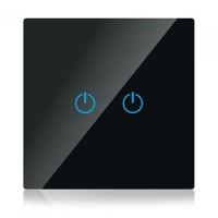Intrerupator V-Tac Smart, touch, sticla, dublu, Negru