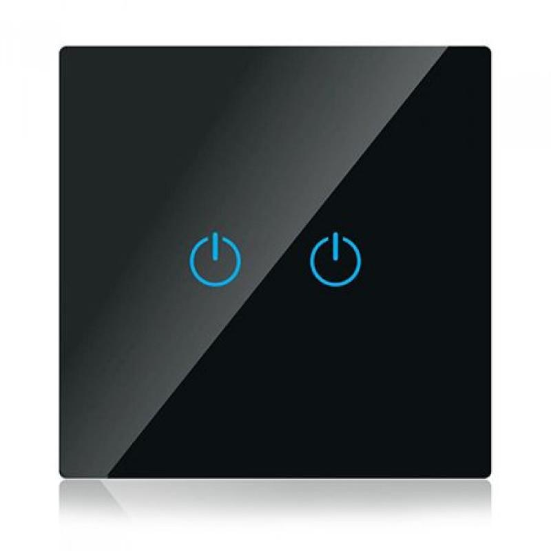 Intrerupator V-Tac Smart, touch, sticla, dublu, Negru shopu.ro