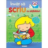 Carte pentru copii Invat sa scriu cu abtibilduri Girasol, 5 ani+