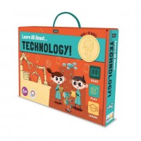 Carte de activitati Invata totul despre tehnologie Sassi, 75 piese, 32 pagini, limba engleza, 6 ani+