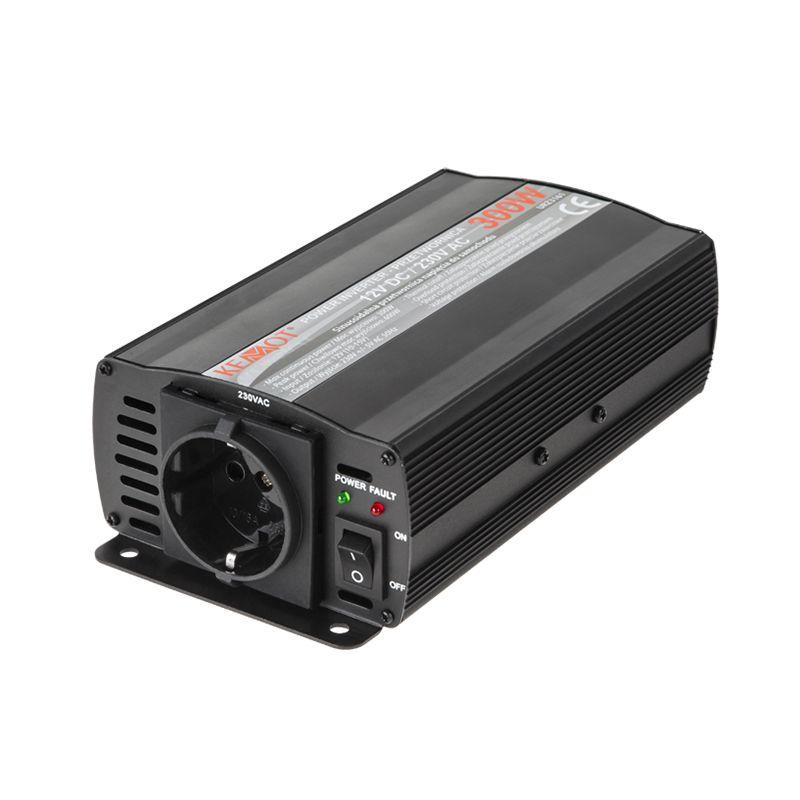 Invertor Kemot 12V/230V, Putere 300W, Cabluri cu crocodili, 1 x Priza 2021 shopu.ro