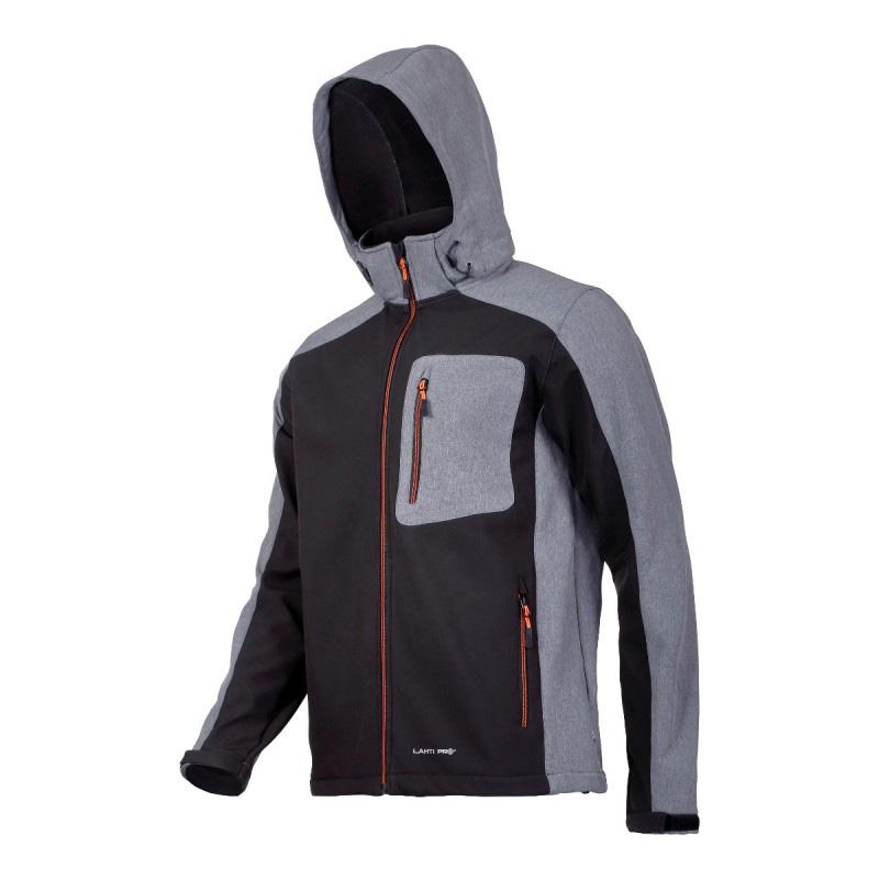 Jacheta elastica cu gluga, 5 buzunare, talie ajustabila, componente reflectorizante, marime L, Negru/Gri 2021 shopu.ro