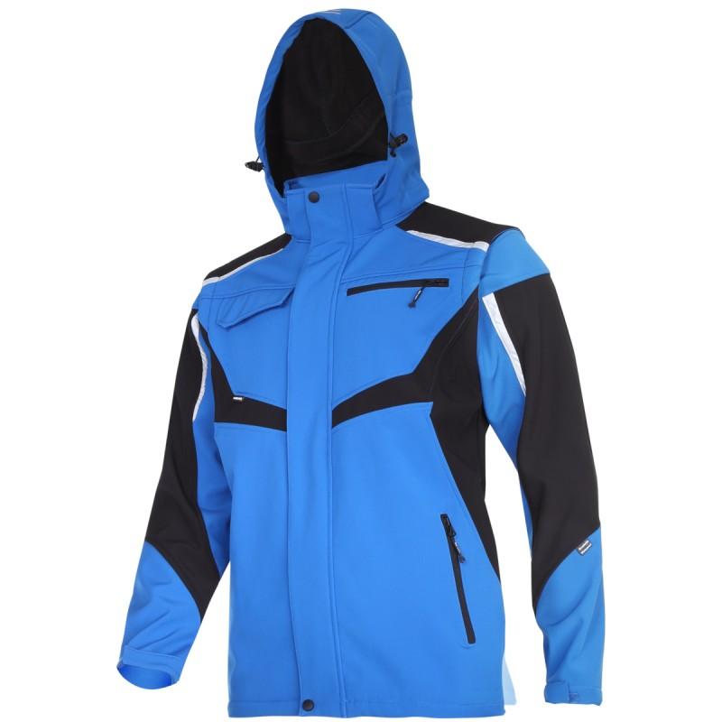 Jacheta elastica cu gluga Lahti Pro, marimea XL, 176-182 cm, gluga/maneci detasabile, componente reflectorizante, impermeabil, Albastru