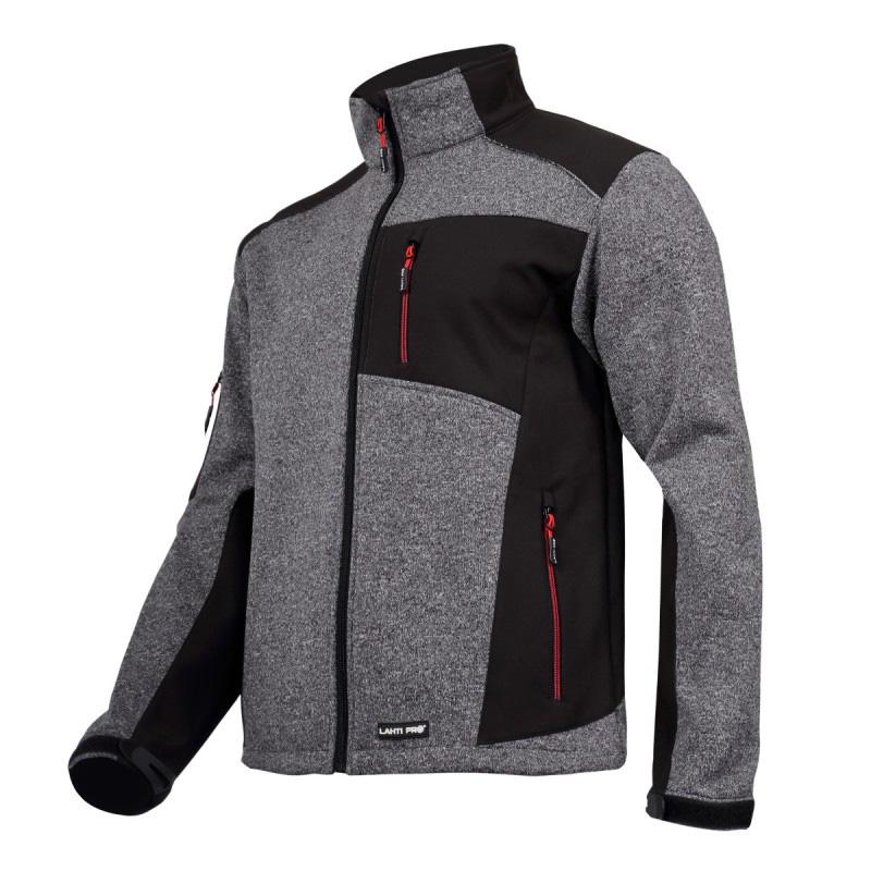Jacheta elastica tip pulover, componente reflectorizante, impermeabila, 4 buzunare, marime 2XL, Gri/Negru 2021 shopu.ro