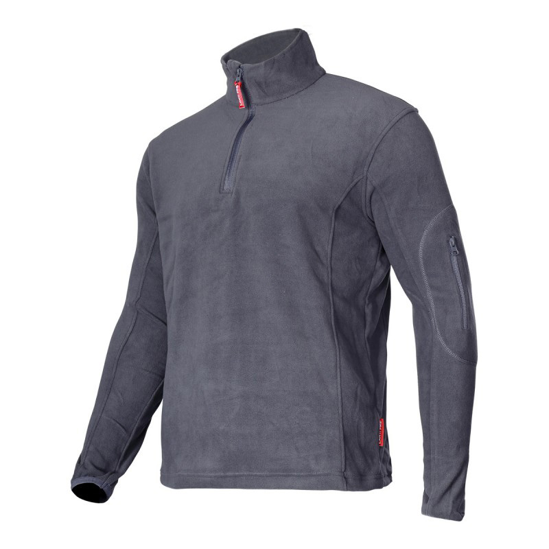 Jacheta Polar cu fermoar scurt, buzunar pe maneca, mansete elastice, marime L, Gri 2021 shopu.ro