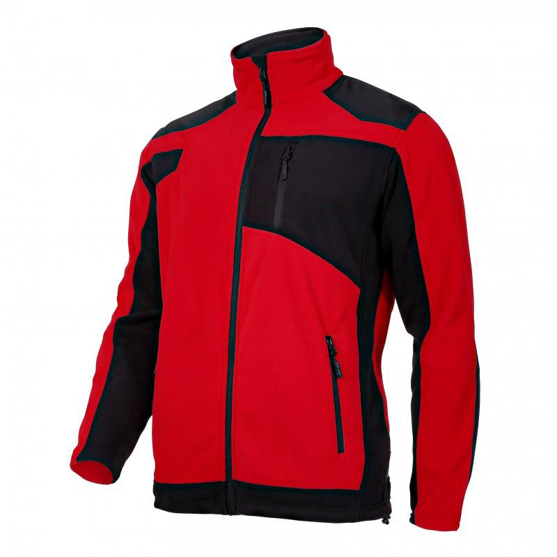 Jacheta Polar cu intaritura, 3 buzunare, talie ajustabila, anti-scamosare, marime L, Rosu/Negru 2021 shopu.ro