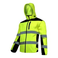 Jacheta reflectorizanta elastica, 100% poliester, 3 buzunare, maneci detasabile, marime L, Verde