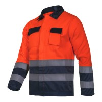 Jacheta reflectorizanta, 5 buzunare, cusaturi duble, marime XL, Portocaliu