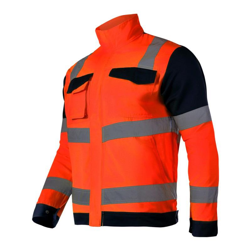 Jacheta reflectorizanta premium, 7 buzunare, talie ajustabila, cusaturi duble, marime M, Portocaliu